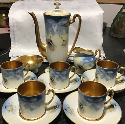 Stunning Antique Early 20th Century Bavarian Gilded Coffee Set Marked Foreign • 44.99£
