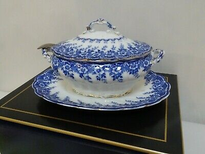 Victorian Blue And White Soup Terrine With Lid • 8£