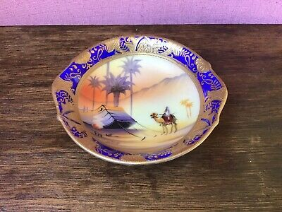 Camel China, Hand Painted, Made In Japan, Green Backstamp, Dish, Desert Scene • 5£