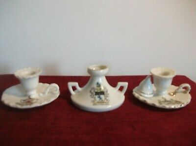 Three Gemma Crested China Candle Holders ~ Darlington, Leeds & Middlesbrough • 12.95£