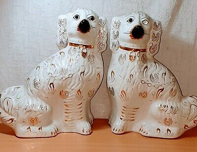 Antique Pair Of Large White Porcelain Gilt Detail Staffordshire / Wally Dogs • 19.99£