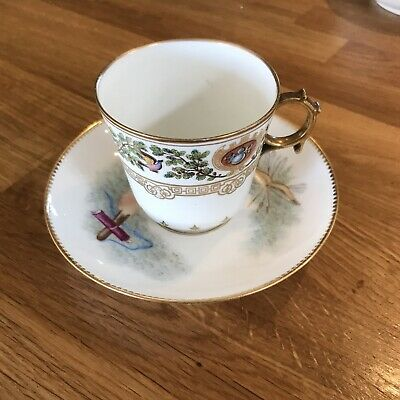 19th Century Hand Painted Sevres Porcelain Cup With Saucer • 20£