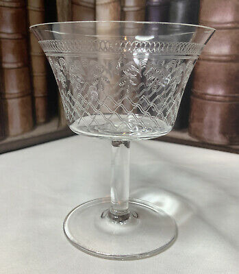 Vintage Pall Mall Lady Hamilton Champagne Coupe Saucer Crystal Glass Art Deco • 19.99£