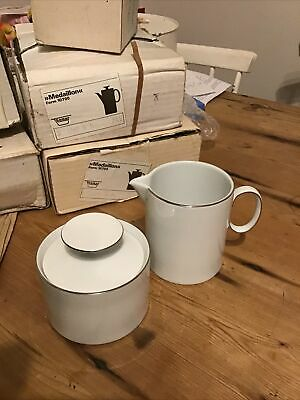 Thomas Medaillon Thin Platinum Band Tea Sugar Bowl & Milk Jug • 6£