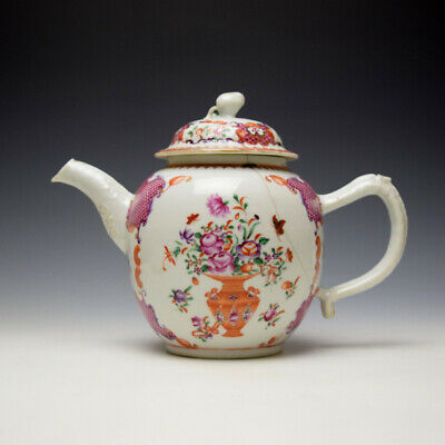 Chinese Export Famille Rose Pattern Teapot And Cover C1770-90 • 85£