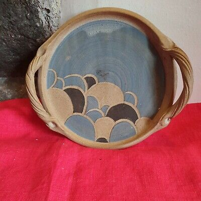 Studio Pottery Serving Tray With Handles Blue And Brown • 15.99£