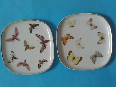 2 Suisse Langenthal Moths Butterffly Flying Insects Plates Ex Condition • 29.99£