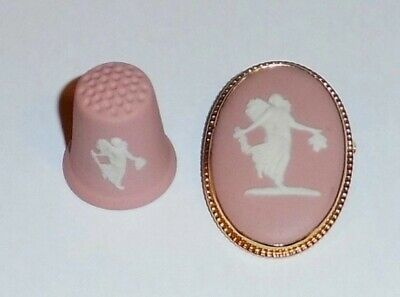 Wedgwood Pink Jasper Floral Girl Brooch & Thimble • 0.99£