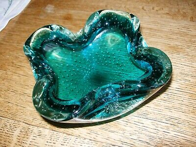 Vintage Murano Sommerso Controlled Bubble  Bowl In Deep Turquoise Blue 17 Cm  • 12£