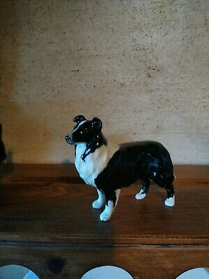 Small Vintage Beswick Realistic Black & White  Border Collie/Seep Dog Figurine  • 3.50£