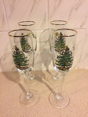 4x Spode Christmas Tree Champagne Flutes • 20£