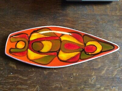 POOLE POTTERY DELPHIS SPEAR DISH SHAPE 82 Signed • 30£