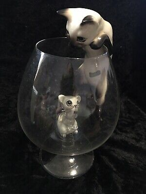 Vintage Genuine Beswick Siamese Cat / Mouse In Brandy Glass EXTREMELY RARE • 32£