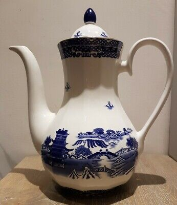 Vintage WADE Willow Pattern Coffee Pot Produced For Ringtons Blue~White: Perfect • 3£