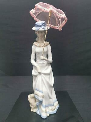Lady With Pink Parasol And Dog (In The Style Of Lladro) • 45£