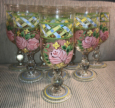 Set 8 Waverly Garden Room Masterpiece Floral Painted Wine Water Goblet Open Box • 51.17£