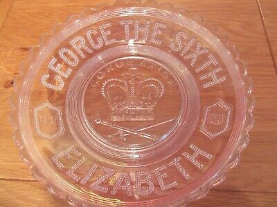 Lovely Vintage Commemorative Glass Dish Plate Coronation King George VI  1937 • 8£