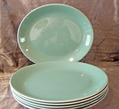 Poole Pottery Twintone Green & White Oval Dinner Plate 1 Of 6 • 7.99£