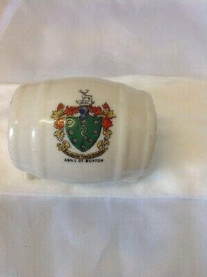 Crested China, Shape Of Wine Cask, Crest Arms Of Buxton • 1.75£
