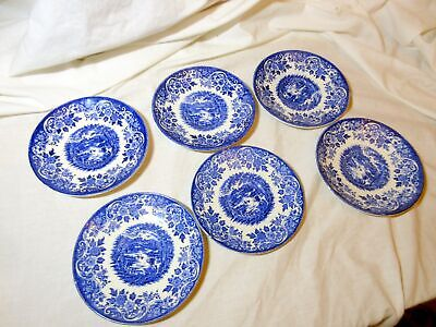 6 Vintage Broadchurch Of Staffordshire Blue Ironstone Pattern Saucers • 0.99£