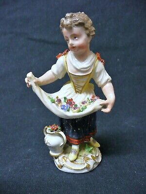 Antique Mid 18th C Meissen Porcelain Figure; Girl With Flowers. • 220£