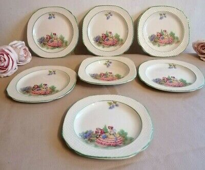 1930 -1946 Hampton Ivory Swinnertons Lilac Time - Set Of 6 Small Dishes & 1 Bowl • 45£