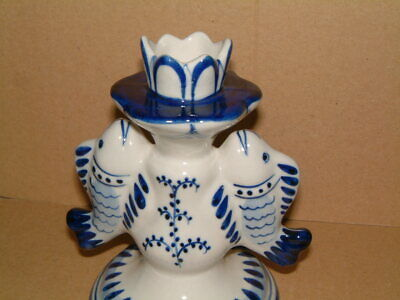 Gzhel Russian Porcelain Candlestick With Fish Design • 15.99£