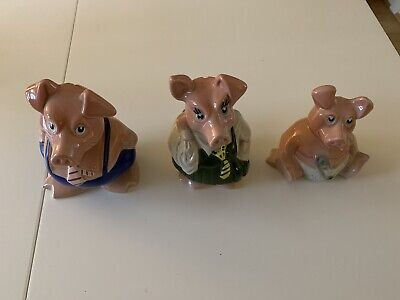 Wade Nat West Pigs - Set Of 3 In Great Condition Without Stoppers • 1£