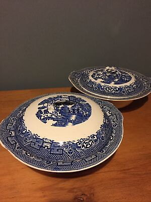 Swinnertons Old Willow - Two Serving Dishes With Lids • 10£