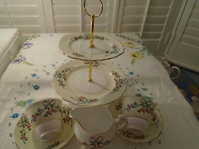 Vintage Colclough Ribbons & Bows Part Teaset & Small 2 Tiered Cake Stand • 34£