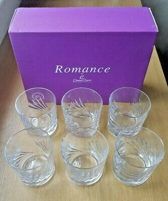 NEW Six Creative Crystal 'Romance' 30% Lead Crystal Glass Whisky Tumblers BNIB • 20£