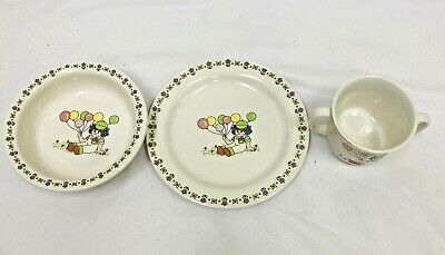 Vintage Lefton Child's Plate Bowl Cup Set Child With Balloons 05620 • 21.94£