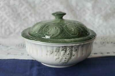 Collectable Vintage China Green Soap Dish With Drainer And Lid 14cms Diameter • 24£