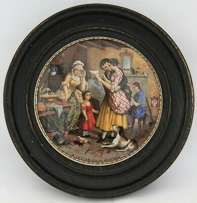 Charming Colourful Antique Framed Prattware Pot Lid   Letter From The Diggings  • 6.95£