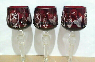 3 Bohemian/Czech Crystal Red/Ruby/Cranberry Cut To Clear Wine Hocks/Glasses • 40£