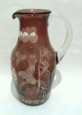 Bohemian/Czech Red/Ruby/Cranberry Cut To Clear Glass Jug • 30£