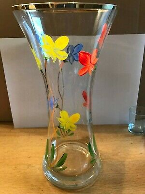 1960s Glass Vase - Hand Painted Flowers And Gold Rim • 4.50£