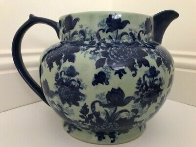 Victoria Ware Ironstone Large Pretty Pitcher Jug Flow Blue Floral Glazed Pottery • 19.99£