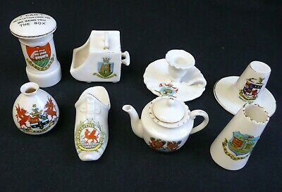 8 Pieces Of Antique 'Crested Ware' From Wales. • 9.95£