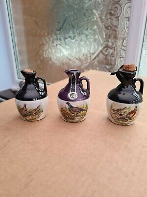 3 Vintage Montrose Pottery Ceramic Scotch Whisky Decanter Pheasant Grouse Small • 20£