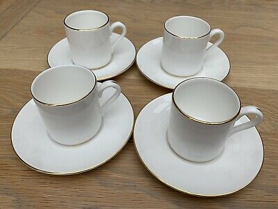 Wedgwood China Signet Gold X 4 Coffee Cups/Cans & Saucers Excellent Condition • 25£