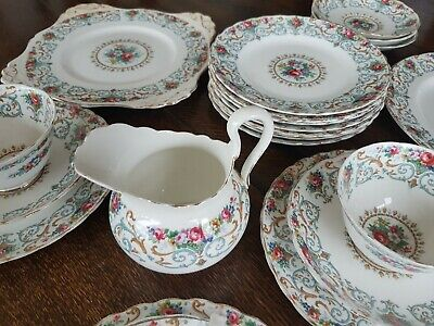 Tuscan   Orleans  Fine Bone China. 10 Plates 6 Saucers 3 Cups 1 Jug 2 Cake Plate • 50£