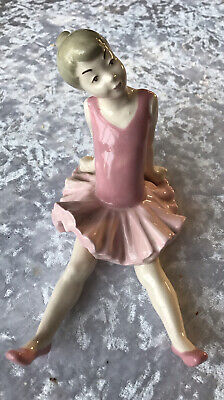 Nao By Lladro Porcelain Large  Ballerina In Pink Glazed  Hands Behind Back Rare • 40£