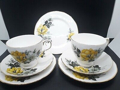 2 Stunning Vintage Queen Anne Bone China Trios With Extra Tea Plate • 6.99£