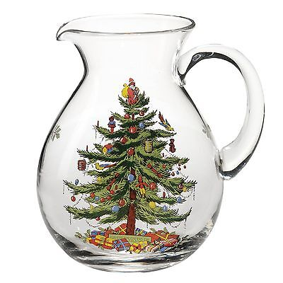 Spode Christmas Tree Glass Pitcher 6pt • 21.50£