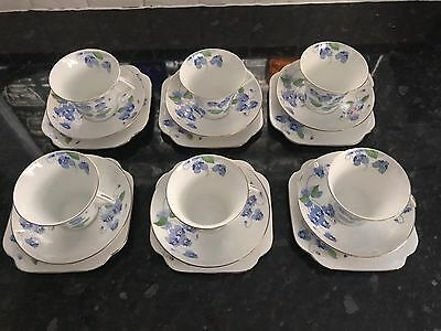 Colclough Bone China Tea Set Blue Pansies • 90£