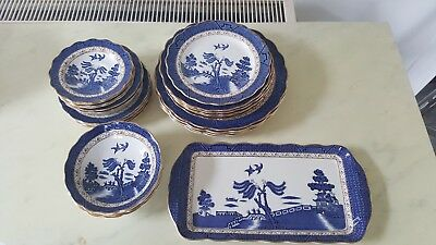 Antique The Original Old Willow Pattern Booths China Plates Bowls Soup Sandwich • 9.99£