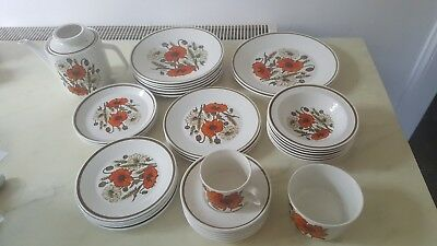 VINTAGE SELECTION VARIED LISTING J & G MEAKIN POPPY  PLATES CHINA 1960s • 5.99£