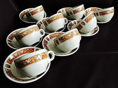 Rare Vintage Heavy Maddock  Florentine  Ultra Vitrified China Cup & Saucer Sets • 125£