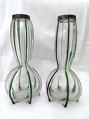 Pair Of Antique Art Nouveau Glass Silver Mounted Vases 1906 • 49£